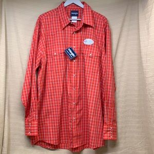 NWT Wrangler Western Shirts Pearl Snap Red Plaid Long Sleeve Men's 2XLT (TALL)